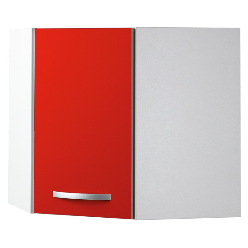 Meuble haut d 39 angle 1 porte 60cm smarty rouge for Meuble 60x60