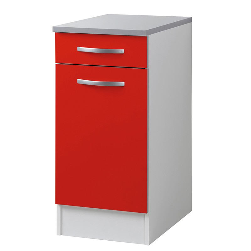 Meuble bas 40cm smarty rouge for Meuble cuisine bas rouge