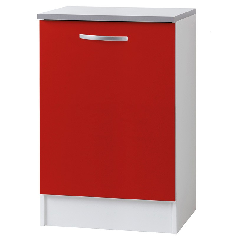 Meuble bas 1 porte 60cm smarty rouge for Meuble porte rouge