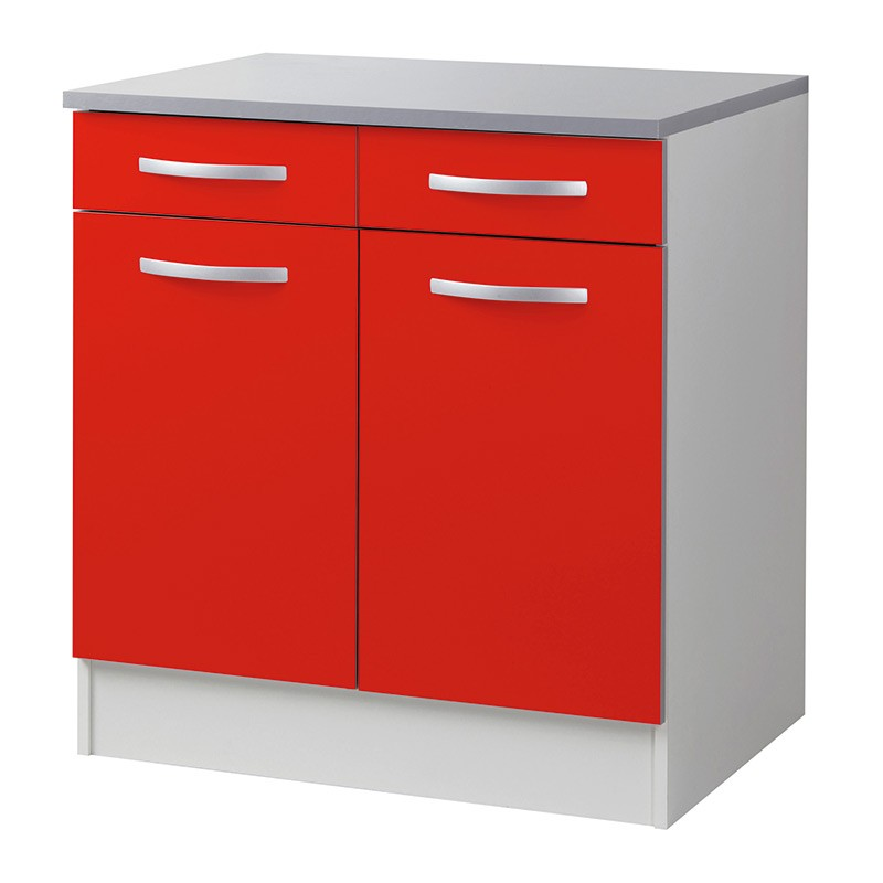 Meuble bas 80cm smarty rouge for Meuble rouge