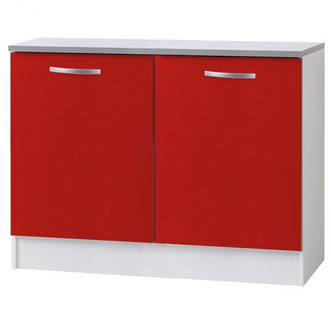 "Meuble Bas 2 portes 120cm ""Smarty"" Rouge"