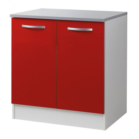 "Meuble Bas 2 Portes 80cm ""Smarty"" Rouge"