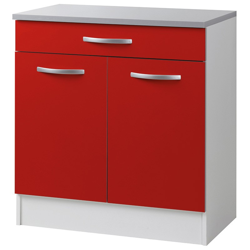 Meuble bas 2 portes 1 tiroirs 80cm smarty rouge for Meuble bas 3 portes