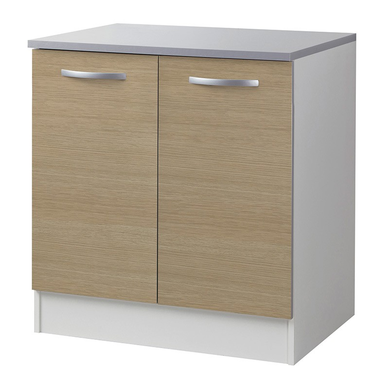 Meuble bas 2 portes 80cm smarty naturel for Meuble cuisine bas 2 portes