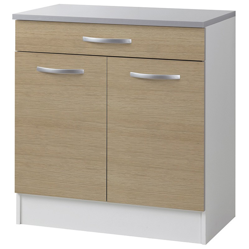 Meuble bas 2 portes 1 tiroirs 80cm smarty naturel for Meuble 70 cm longueur