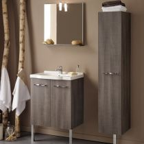 "Ensemble Meuble Vasque & Miroir ""Bornéo"" Marron"