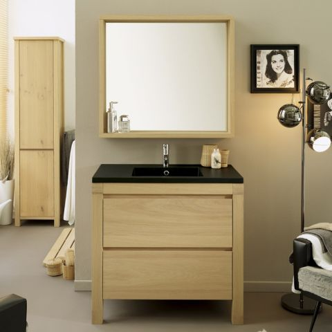 "Ensemble Meuble Vasque & Miroir ""Antalya"" Naturel"