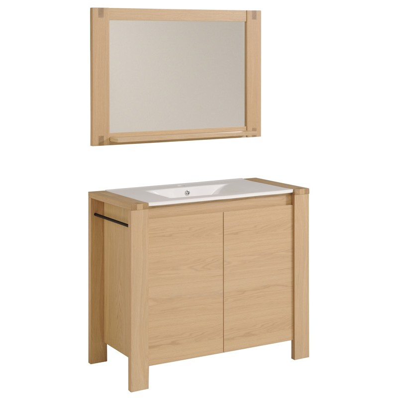 Ensemble meuble vasque miroir gal o naturel for Ensemble meuble vasque