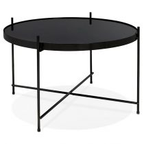 "Table d'Appoint Design Ronde ""Kamal"" 63cm Noir"