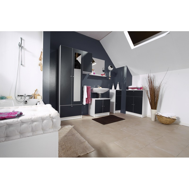 meuble bas 2 portes remix gris. Black Bedroom Furniture Sets. Home Design Ideas