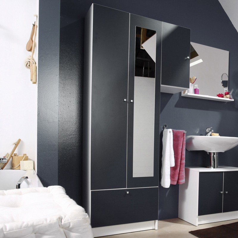 colonne 2 portes remix gris. Black Bedroom Furniture Sets. Home Design Ideas