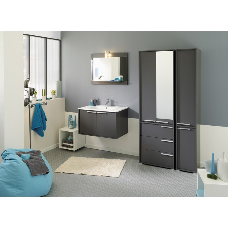 ensemble meuble vasque miroir id o gris. Black Bedroom Furniture Sets. Home Design Ideas