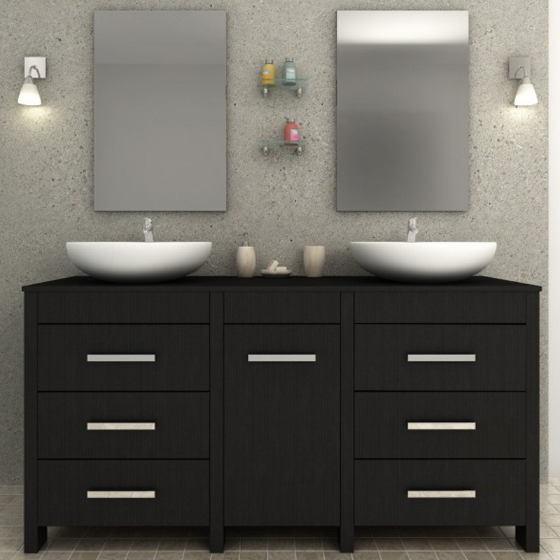 ensemble meuble de salle de bain sensa noir. Black Bedroom Furniture Sets. Home Design Ideas