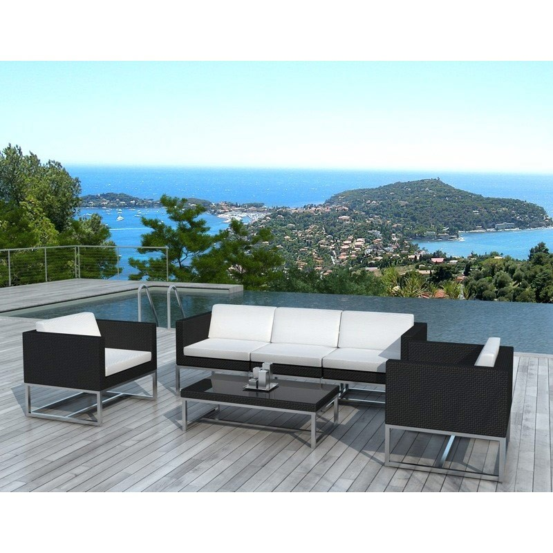 salon de jardin en r sine tress rio noir. Black Bedroom Furniture Sets. Home Design Ideas