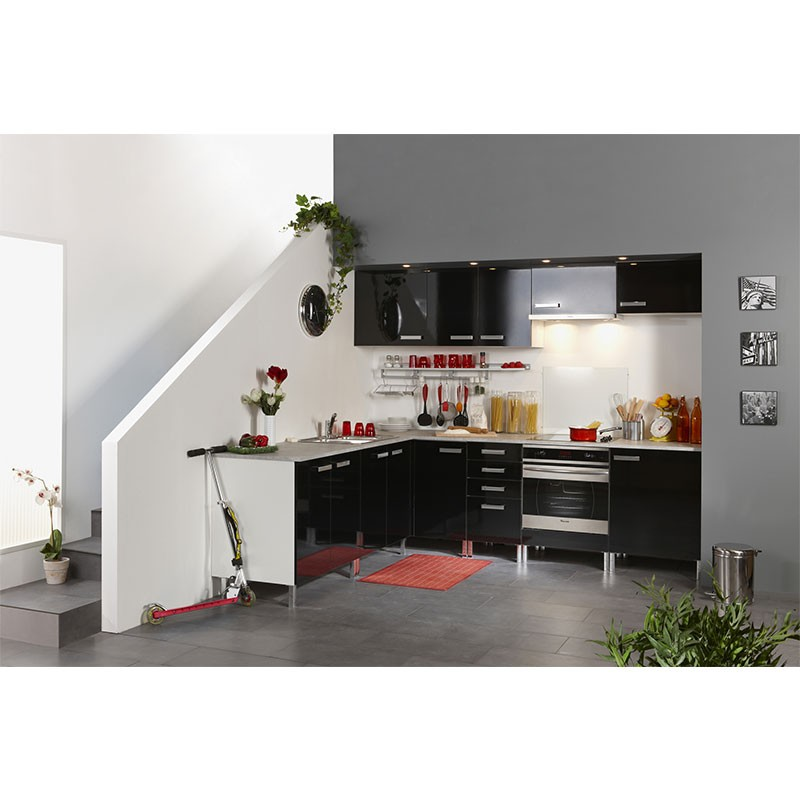 meuble haut 1 porte 40cm glossy noir. Black Bedroom Furniture Sets. Home Design Ideas