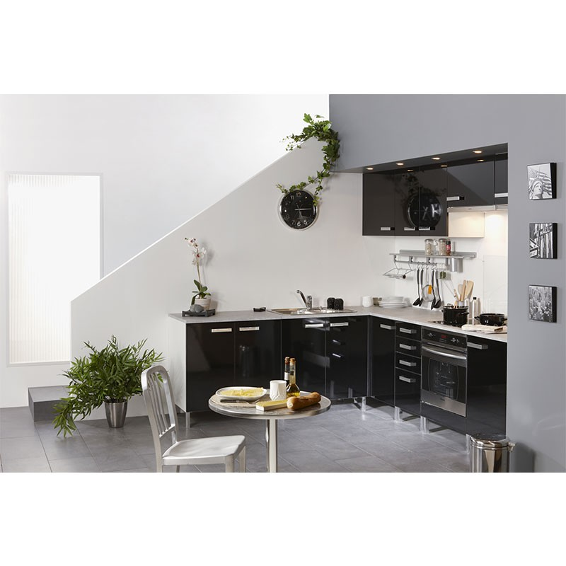 meuble haut d 39 angle 1 porte 60cm glossy noir. Black Bedroom Furniture Sets. Home Design Ideas