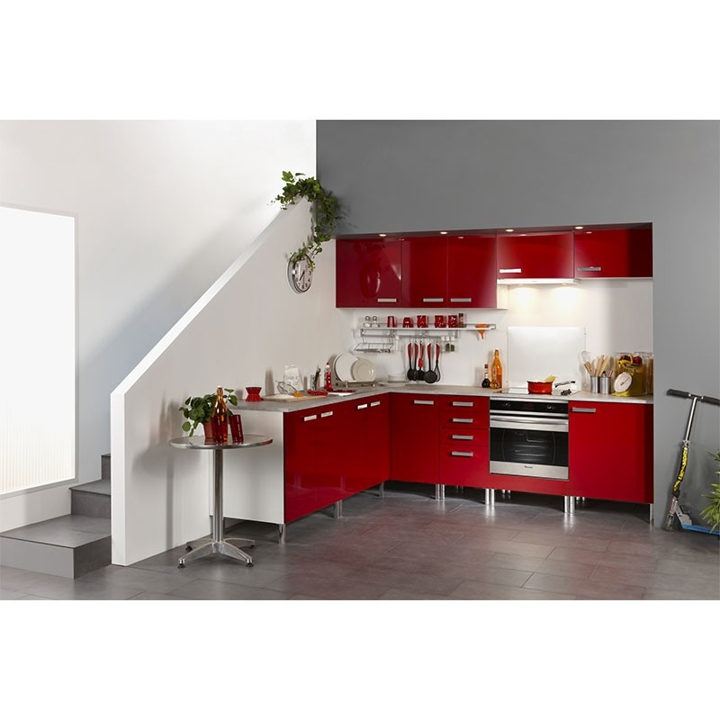 Meuble Bas 2 Portes Et 2 Tiroirs Glossy Rouge