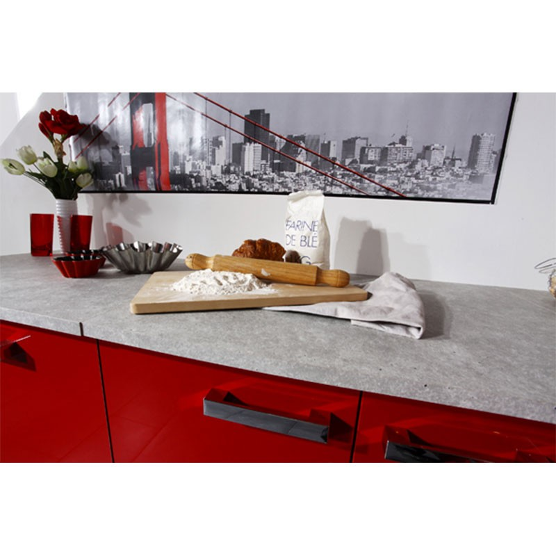 Meuble bas 2 portes et 2 tiroirs glossy rouge for Meuble cuisine bas 2 portes 2 tiroirs