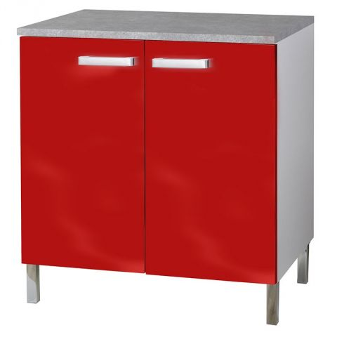 """Meuble Bas 2 portes """"Glossy"""" Rouge"""