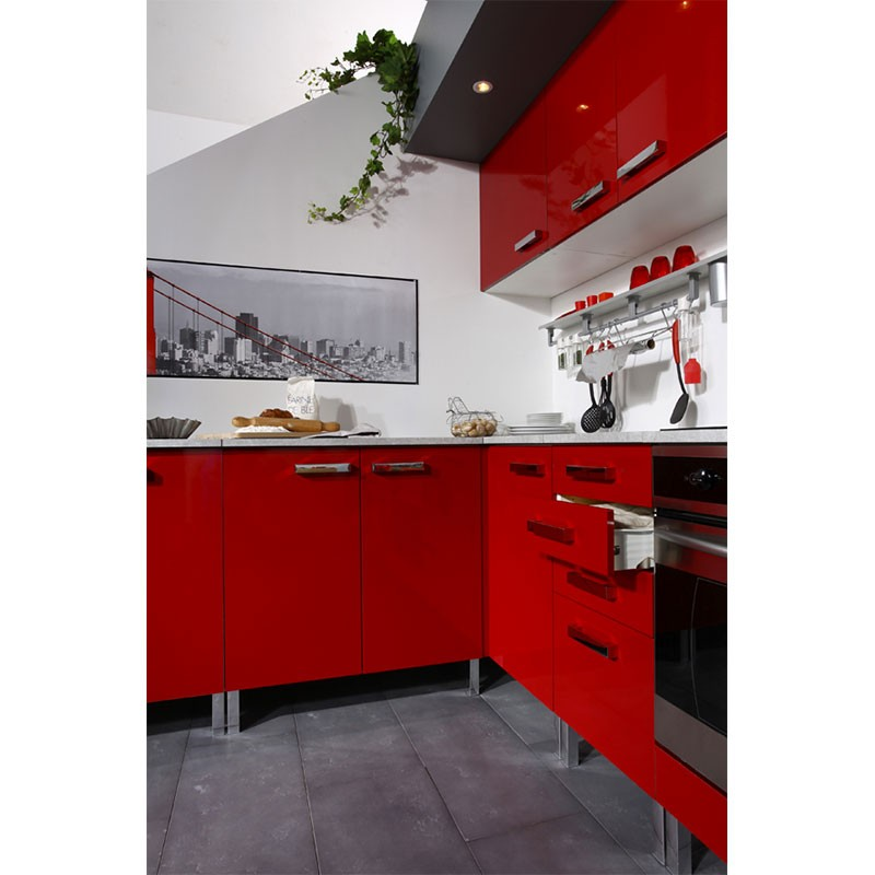 Meuble bas 2 portes glossy rouge for Meuble bas cuisine rouge