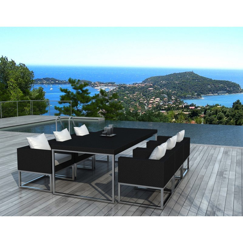 salon de jardin en r sine tress e bali noir. Black Bedroom Furniture Sets. Home Design Ideas