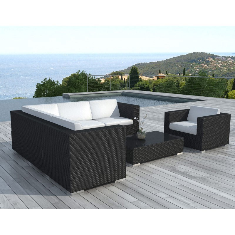 salon de jardin en r sine tress e d 39 angle noir. Black Bedroom Furniture Sets. Home Design Ideas