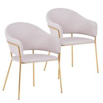 "Lot de 2 Chaises Design ""Carnot"" 83cm Beige"