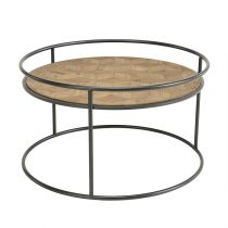 "Table Base Ronde Bois ""Dona"" 80cm Naturel & Noir"