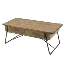 "Table Basse 2 Tiroirs en Bois ""Dona"" 117cm Naturel"