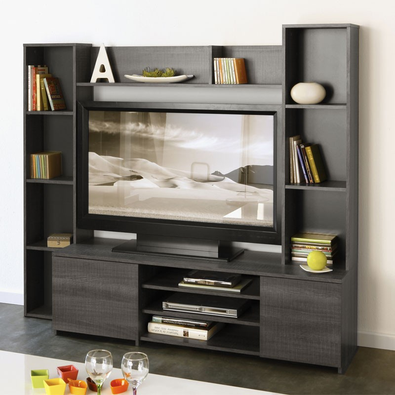 meuble tv mural infinity gris. Black Bedroom Furniture Sets. Home Design Ideas