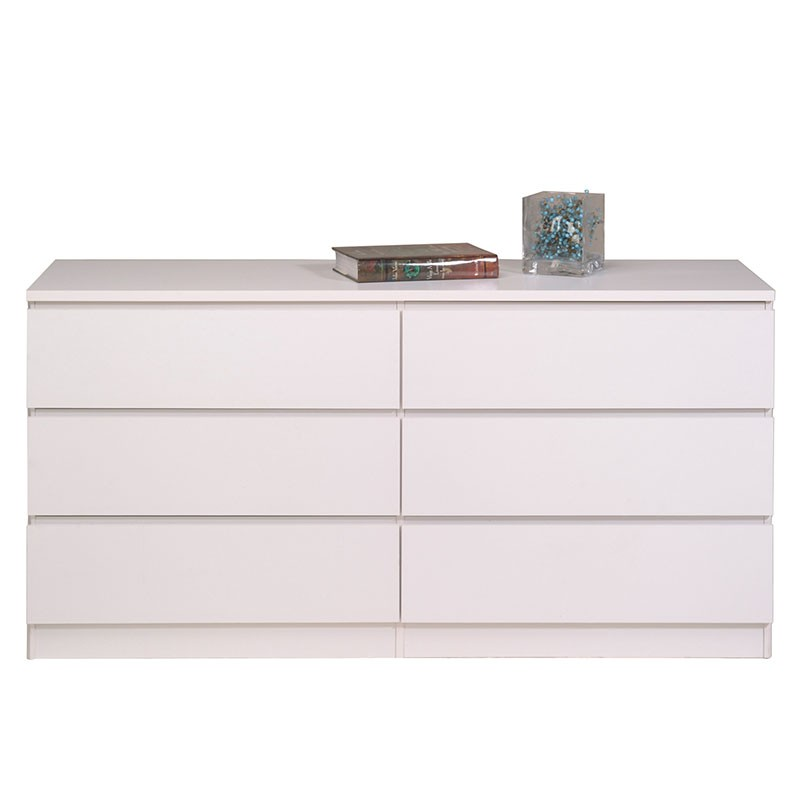 Commode 6 tiroirs lisa blanc - Commode 6 tiroirs blanc ...