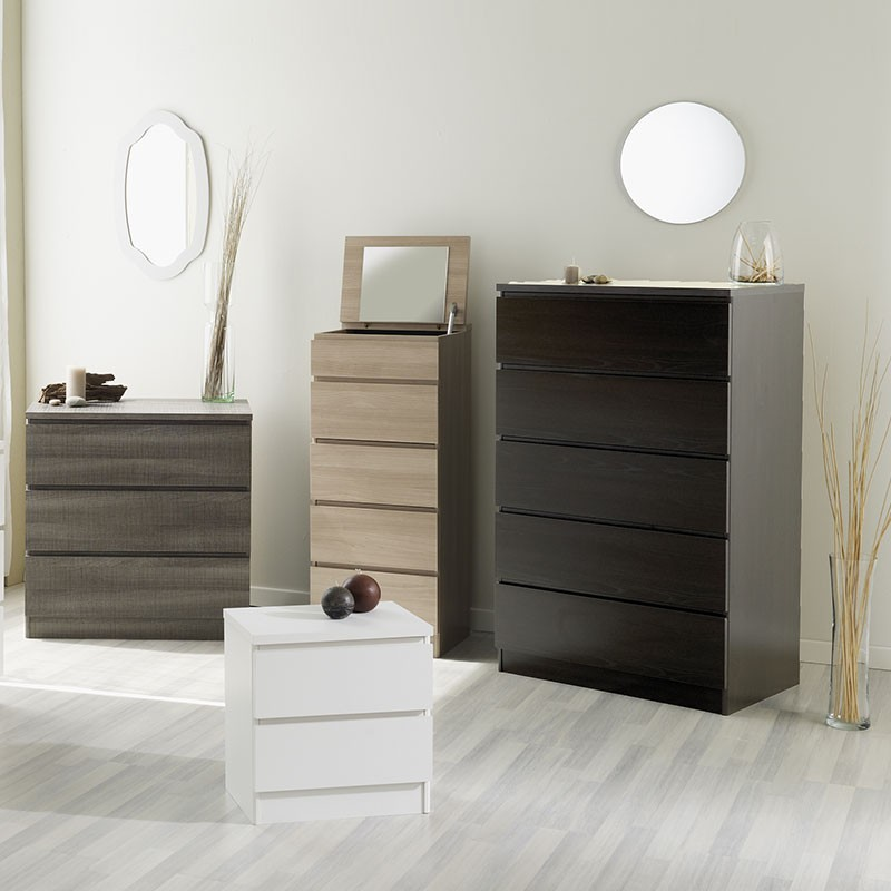 commode 5 tiroirs lisa caf. Black Bedroom Furniture Sets. Home Design Ideas
