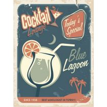 "Plaque en Métal Murale ""Cocktail Lounge Blue Lagoon"" Bleu"