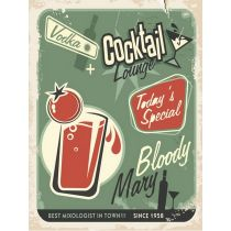 "Plaque en Métal Murale ""Cocktail Lounge Bloody Mary"" Vert"