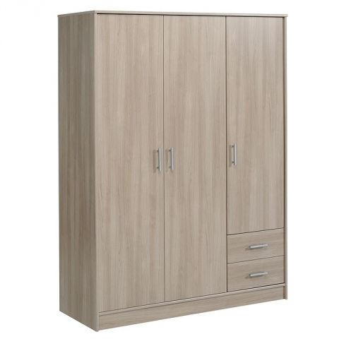 "Armoire 3 Portes 2 Tiroirs ""Galaxy"" Naturel"