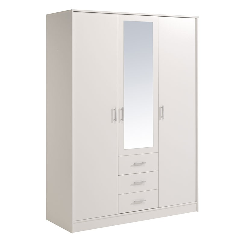 armoire 3 portes 3 tiroirs galaxy blanc. Black Bedroom Furniture Sets. Home Design Ideas