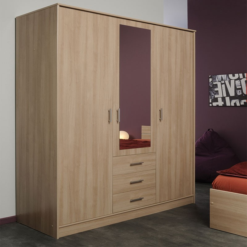 armoire 3 portes 3 tiroirs galaxy naturel. Black Bedroom Furniture Sets. Home Design Ideas