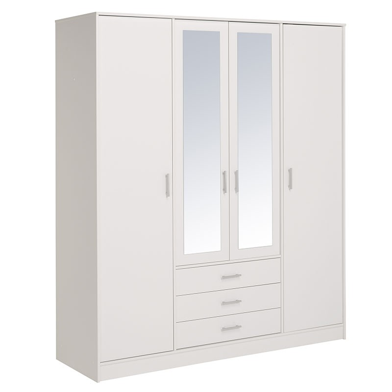 armoire 4 portes 3 tiroirs galaxy blanc. Black Bedroom Furniture Sets. Home Design Ideas