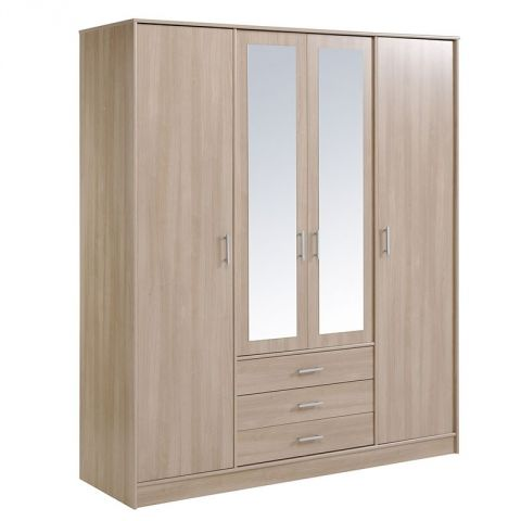 "Armoire 4 Portes 3 Tiroirs ""Galaxy"" Naturel"