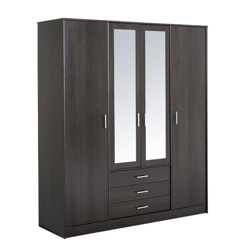 armoire 4 portes 3 tiroirs galaxy caf. Black Bedroom Furniture Sets. Home Design Ideas
