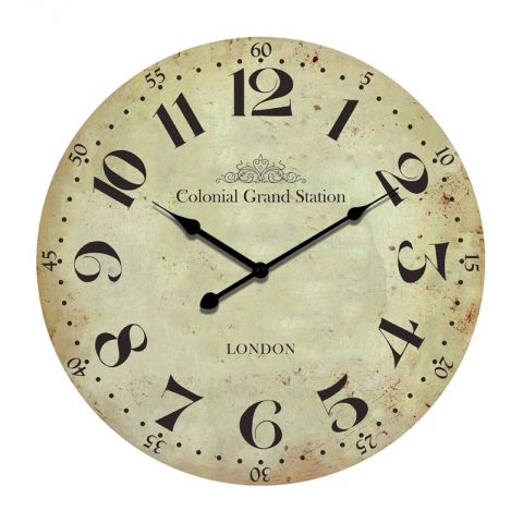 "Pendule 45cm ""Colonial Grand Station"" Beige"