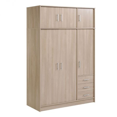 "Armoire 6 Portes 3 Tiroirs ""Galaxy"" Naturel"