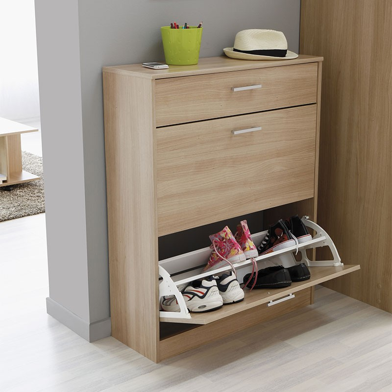 meuble chaussures 3 compartiments galaxy naturel. Black Bedroom Furniture Sets. Home Design Ideas