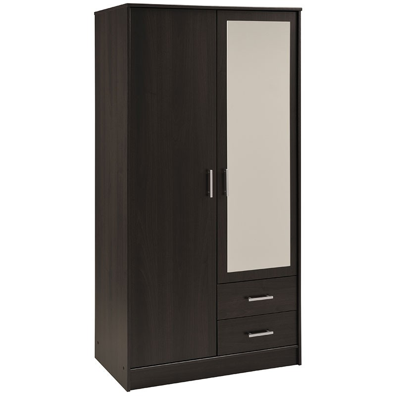 armoire 2 portes 2 tiroirs galaxy caf. Black Bedroom Furniture Sets. Home Design Ideas