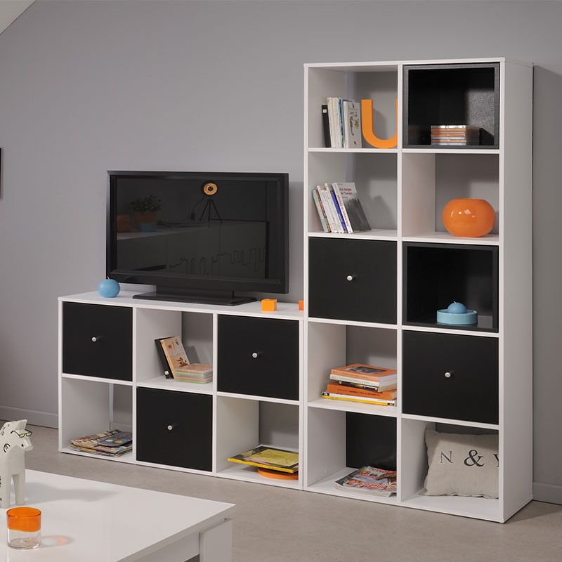 biblioth que 6 cases 3 cubes cubo blanc. Black Bedroom Furniture Sets. Home Design Ideas