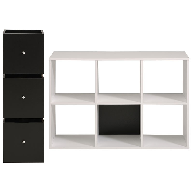 Biblioth que 6 cases 3 cubes cubo blanc for Meuble 6 cases blanc