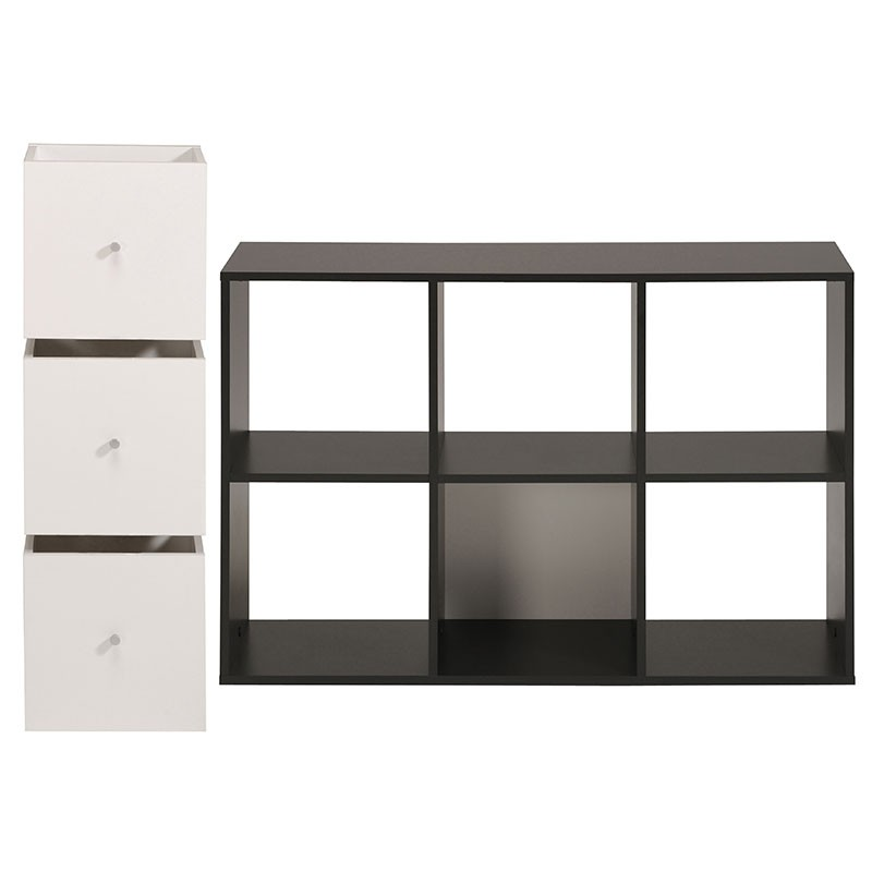 biblioth que 6 cases 3 cubes cubo noir. Black Bedroom Furniture Sets. Home Design Ideas