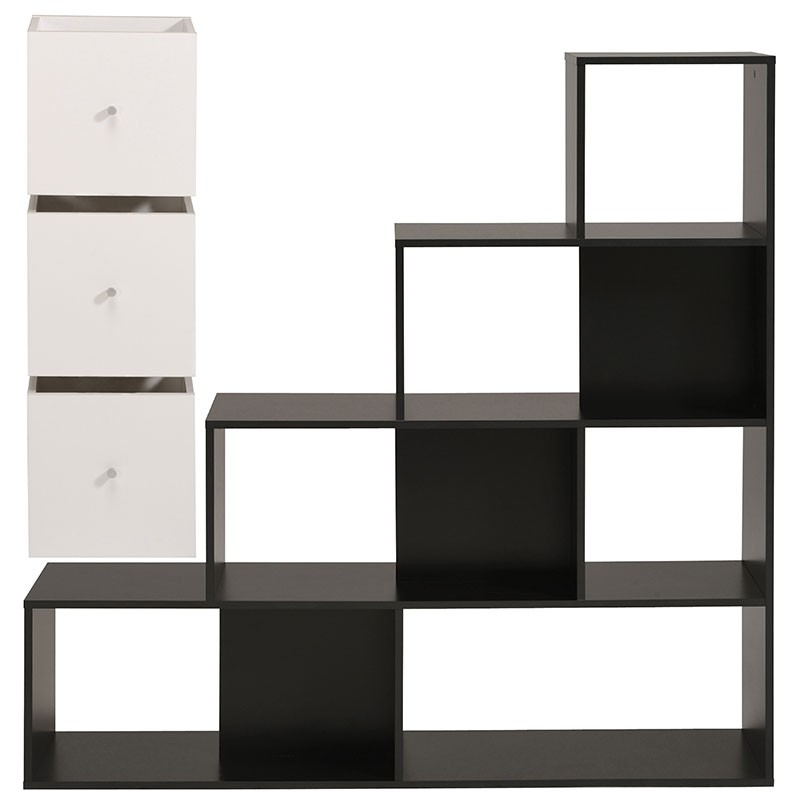 biblioth que 9 cases cubes cubo noir. Black Bedroom Furniture Sets. Home Design Ideas