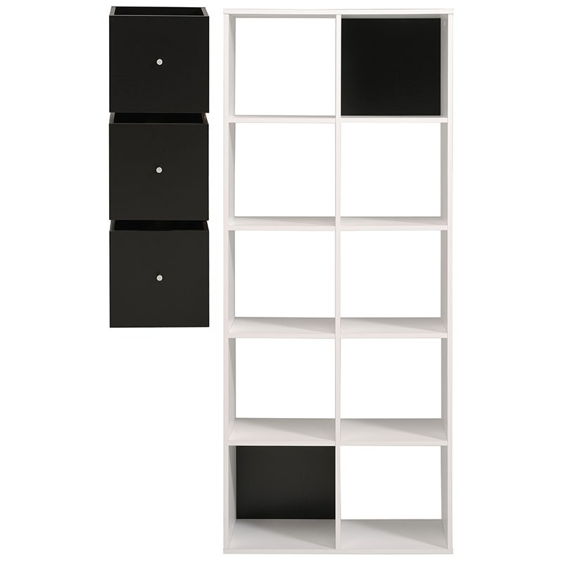 biblioth que 10 cases 3 cubes cubo blanc. Black Bedroom Furniture Sets. Home Design Ideas
