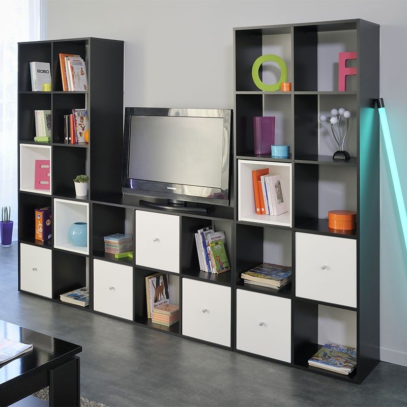 biblioth que 10 cases 3 cubes cubo noir. Black Bedroom Furniture Sets. Home Design Ideas